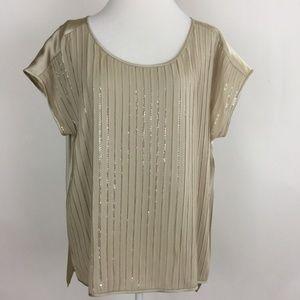 Eileen Fisher Cap Sleeve Embellished Silk Top XL